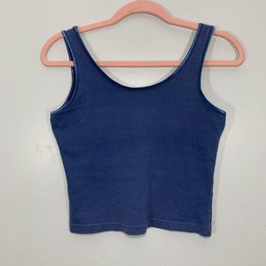Vintage | Early 90's Blue Ribbon Trim Crop Top